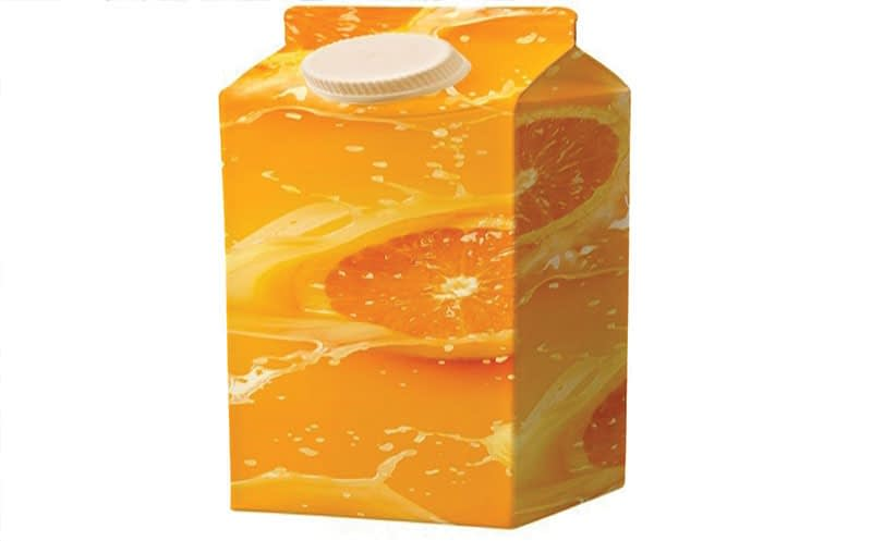 Milk and juice cartons comprise 75% paperboard, with 25% made of aluminium and polyethylene layers